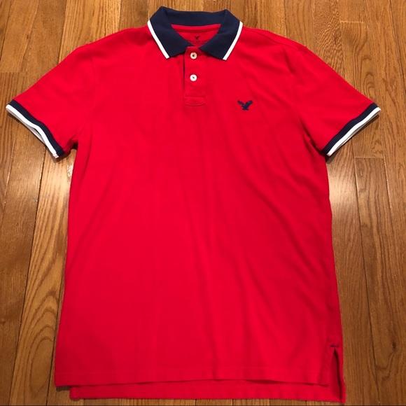 Men's American Eagle Red Polo - Small